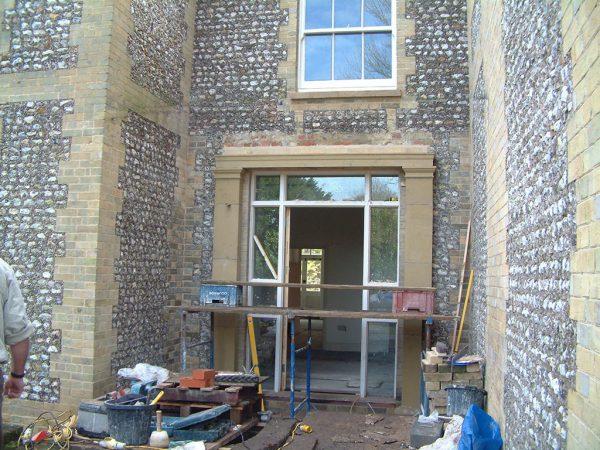 Stone portico flint repairs
